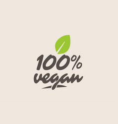 100 vegan word or text with green leaf vector