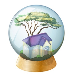 A crystal ball with a house vector image