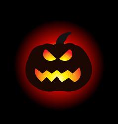 a lit halloween pumpkin on the dark background vector image