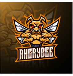 Angry bee mascot logo design vector