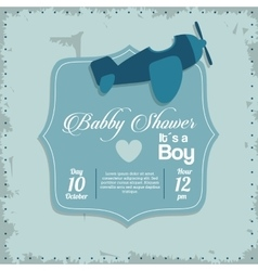 Baby Shower design airplane icon Blue vector image