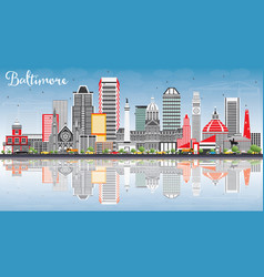 Baltimore skyline with gray buildings blue sky vector