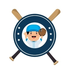baseball player emblem sport vector image