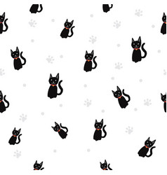 black cat paw print seamless pattern background vector image