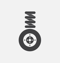 Black icon on white background wheel and spring vector