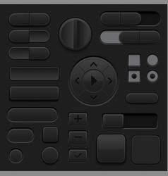 black interface buttons 3d set ui icons vector image