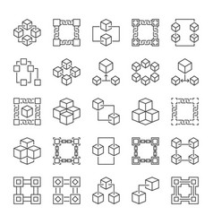 blockchain technology outline concept icons vector image