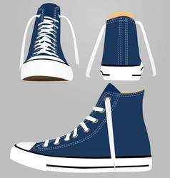 blue canvas sneakers vector image