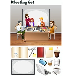 Business meeting with people in the room vector
