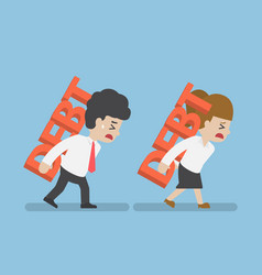 businessman and woman carrying debt on back vector image