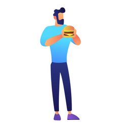 businessman eating hamburger vector image