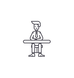 businessman sitting at the table line icon vector image
