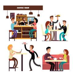 Cafe coffee shop restaurant with drinking coffee vector