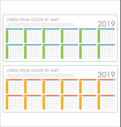 calendar planner 2019 year simple minimal design vector image