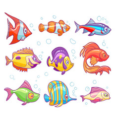 Cartoon fishes aquarium sea tropical fish funny vector