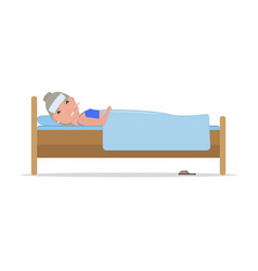 Cartoon ill old woman in bed with influenza vector