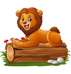 cartoon lion sitting on a tree log vector image