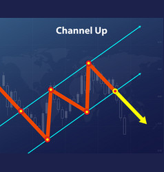 channel up forex figure red and yellow arrow vector image