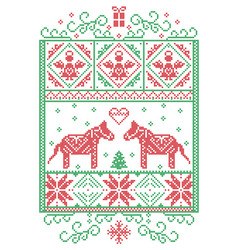 Christmas pattern nordic with dala horse vector
