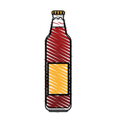 Color drawing pencil cartoon bottle glass of vector