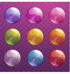 colorful cartoon glossy transparent bubbles set vector image