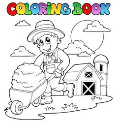 Coloring book farm theme 3 vector