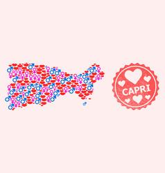 Composition sexy smile map capri island and vector