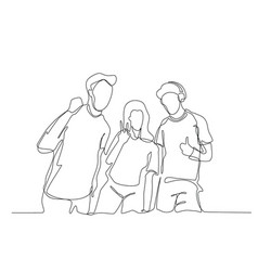 continuous line drawing three cheering guys vector image