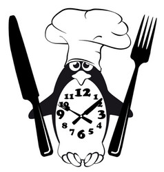 cook menu penguin glutton mode vector image