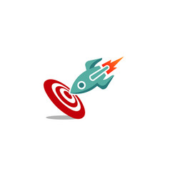 Creative ship rocket target logo vector