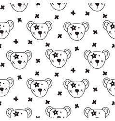 cute bear heads seamless pattern vector image