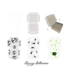 Die cut paper carton boxes with halloween package vector