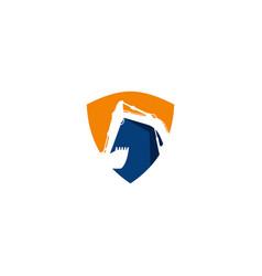 Excavator shield logo symbol template vector