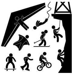 extreme sport hang glider bungee jump rock climb vector image