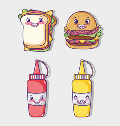 fast food collection kawaii cartoons vector image