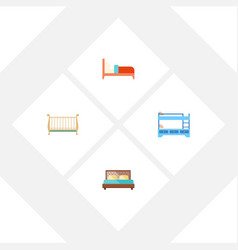 Flat set of bearings bunk bed hostel and othe vector