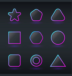 fluorescent neon geometric shapes buttons vector image