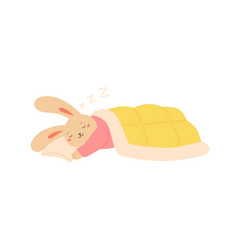 funny rabbit sleeping on pillow covered blanket vector image