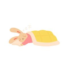 Funny rabbit sleeping on pillow covered blanket vector
