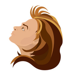 girl with brown curly hair looking up vector image