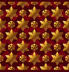 gold snowflakes on red for gift box papper vector image