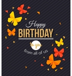 Happy Birthday Background with Paper Butterfly vector