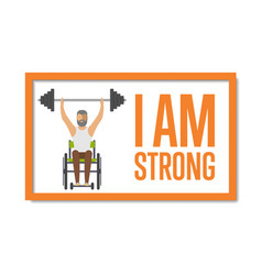 I am strong concept with disabled man vector