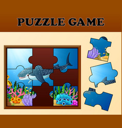 jigsaw puzzle educational game for preschool child vector image