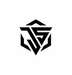 Js logo monogram with triangle and hexagon modern vector