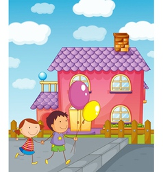 Kids and a house vector