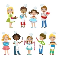 Kids on cooking lesson vector