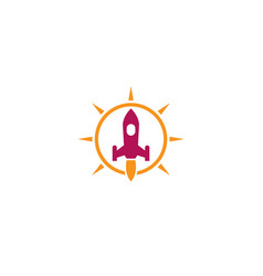 launch a rocket with a flame inside bright vector image
