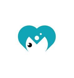 letter m fish heart logo icon design vector image
