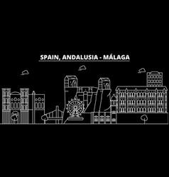 malaga andalusia silhouette skyline spain vector image